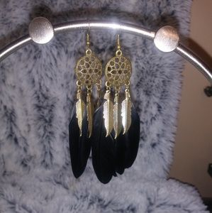 Gold Tone and Black Feather Dangly Earrings